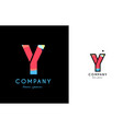 y blue red letter alphabet logo icon design vector image