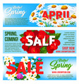 sale banners of springtime floral design vector image