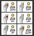male hand holding a glasses with alcohol drinks vector image