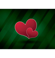 green abstract background with two hearts vector image vector image