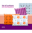 Set of cushions and pillows with matching seamless vector image vector image
