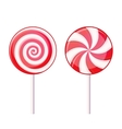 Round Spiral Candy Lollipop Red and White on vector image