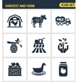 Icons set premium quality of harvest and farm vector image