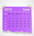 2013 calendar june colorful torn paper vector image vector image