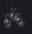 abstract black christmas tree baubles header vector image