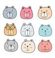hand drawn cute bear characters set vector image