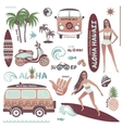 Set of vintage style Hawaiian summer icons surf vector image