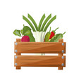 vegetables wooden box vector image