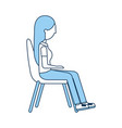 woman sitting on chair vector image