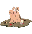 Pig and a toy ship cartoon vector image vector image