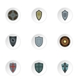 Army shield icons set flat style vector image