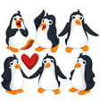 Cute penguins in different poses vector image