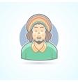 Rastafarian man hippie guy with dreadlocks icon vector image