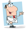Happy Doctor Holding Syringe vector image vector image
