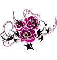 pink rose stencil vector image vector image