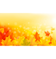 Autumn background with yellow leaves and hand vector image