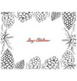 hand drawn row of pine cone frame vector image