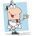 Happy Doctor Holding Syringe vector image