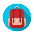 Hipster backpack icon in flat style isolated on vector image