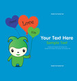 monster cute green hold balloon vector image