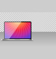 realistic computer laptop with abstract wallpaper vector image
