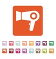 The dryer icon Hairdryer symbol Flat vector image