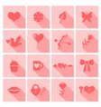 valentine icon flat pink vector image
