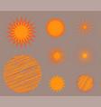 sun burst star icon set summer vector image