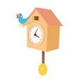 Vintage wooden cuckoo clock icon cartoon style vector image
