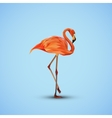 a pink flamingo in low-polygonal style vector image