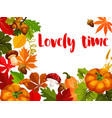 autumn nature poster for thanksgiving day design vector image