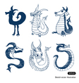 Cartoon little dragon set vector image