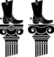 columns and boots with spurs stencils vector image