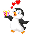 Cute penguin holding present vector image