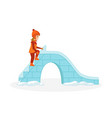 girl gets on the ice hill to ride vector image