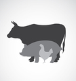 group of animal farm label vector image