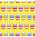 Seamless pattern colorful jars with jam in doodle vector image