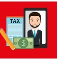 man smartphone tax dollar vector image