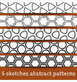 Set of sketches geometric seamless patterns vector image vector image