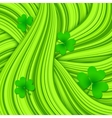 Green hair waves abstract background with clovers vector image vector image