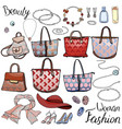 pack with woman accessories jewel bags objects vector image