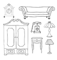 Set of icons for living room vector image