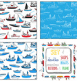 set of seamless nautical patterns and frame vector image