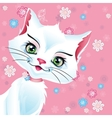 a white pussy cat on a pink vector image