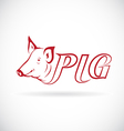 Design a pig head is text vector image