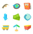 fuel business icons set cartoon style vector image