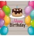 happy birthday cake chocolate balloons graphic vector image