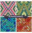 Set of tribal doddle rhombus seamless pattern vector image