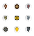 Combat shield icons set flat style vector image