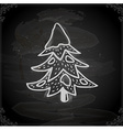 Hand Drawn Pine Tree with Snowfall vector image